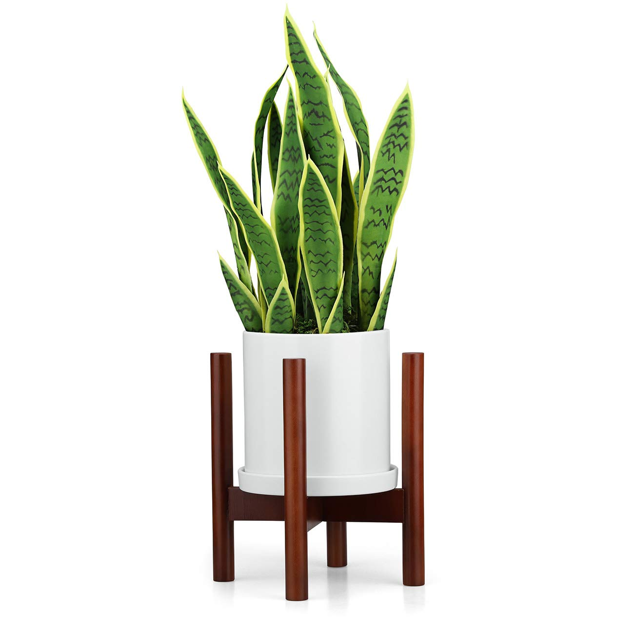 Rmbo -USA Mid Century Plant Stand, Wood Indoor Flower Pot Holder, Simple Display Potted Rack, Modern Home Decor ,Elegant Mid Century Plant Stand Fits -8in