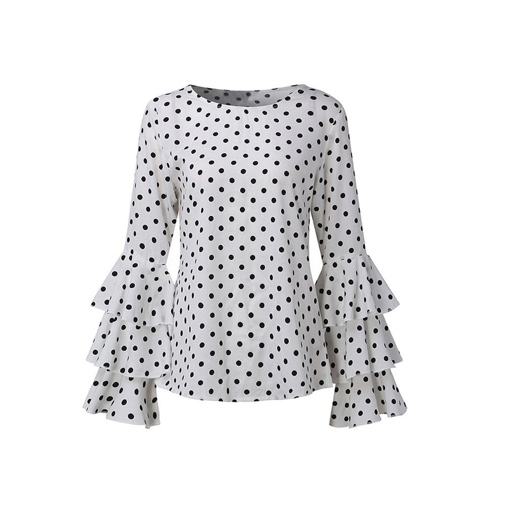 Women's Bell Sleeve Loose Polka Dot Shirt Women's Casual Shirt O-Neck Top White