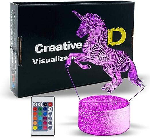3D Star  Animal Unicorn LED Night Light Wall Lamp Baby Kids Bedroom Decor UK
