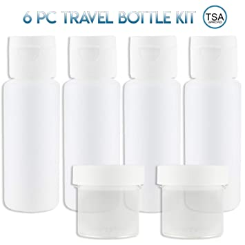 c48cad434124 Lingito Travel Bottles Set (4 Pcs) With Cosmetic Containers (1 oz) -  Portable 100% Leak Proof Refillable...