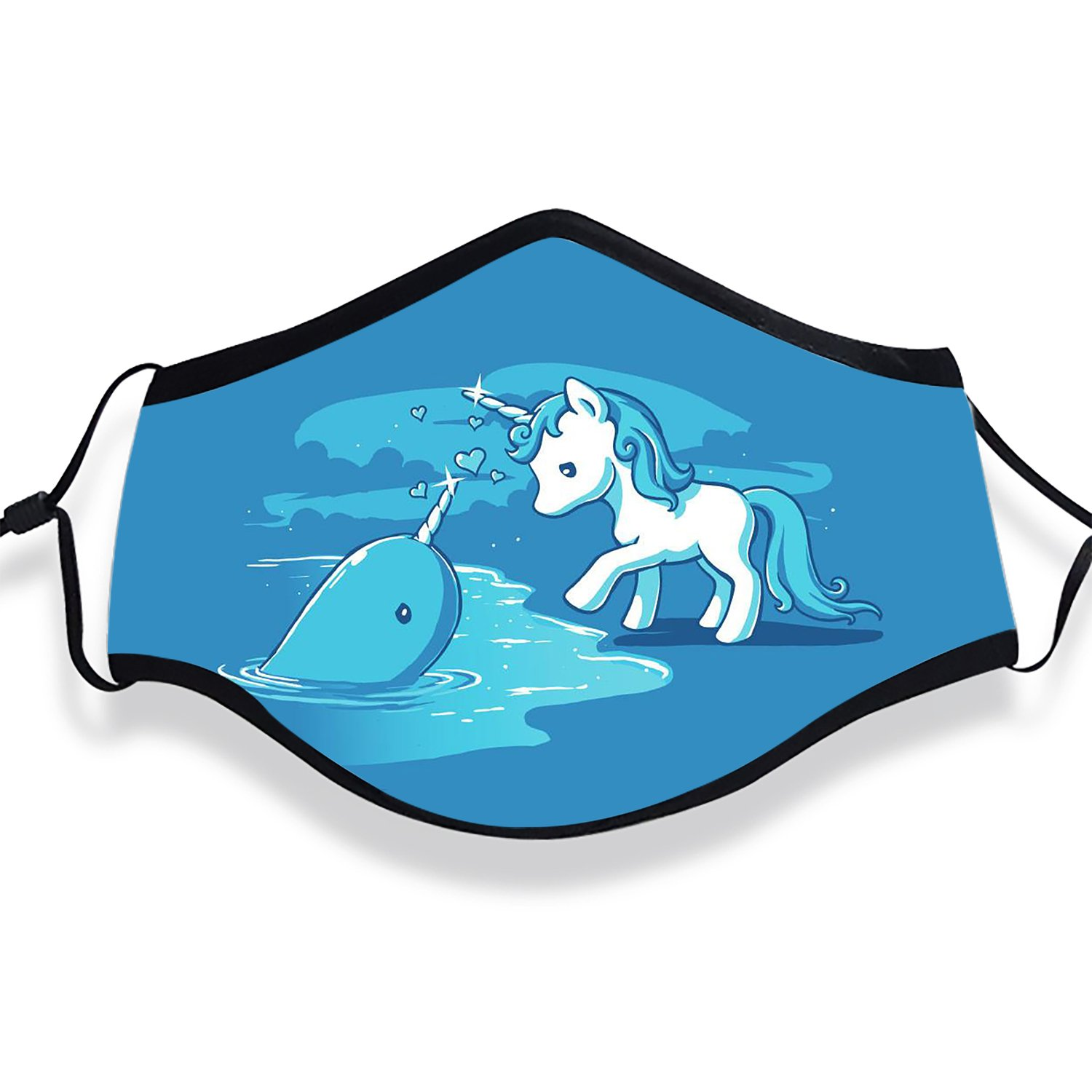 Whale Love Unicorn Anti Dust Face Mouth Cover Mask Respirator Cotton Protective Breath Warm Windproof Mask (Mask + Filters)
