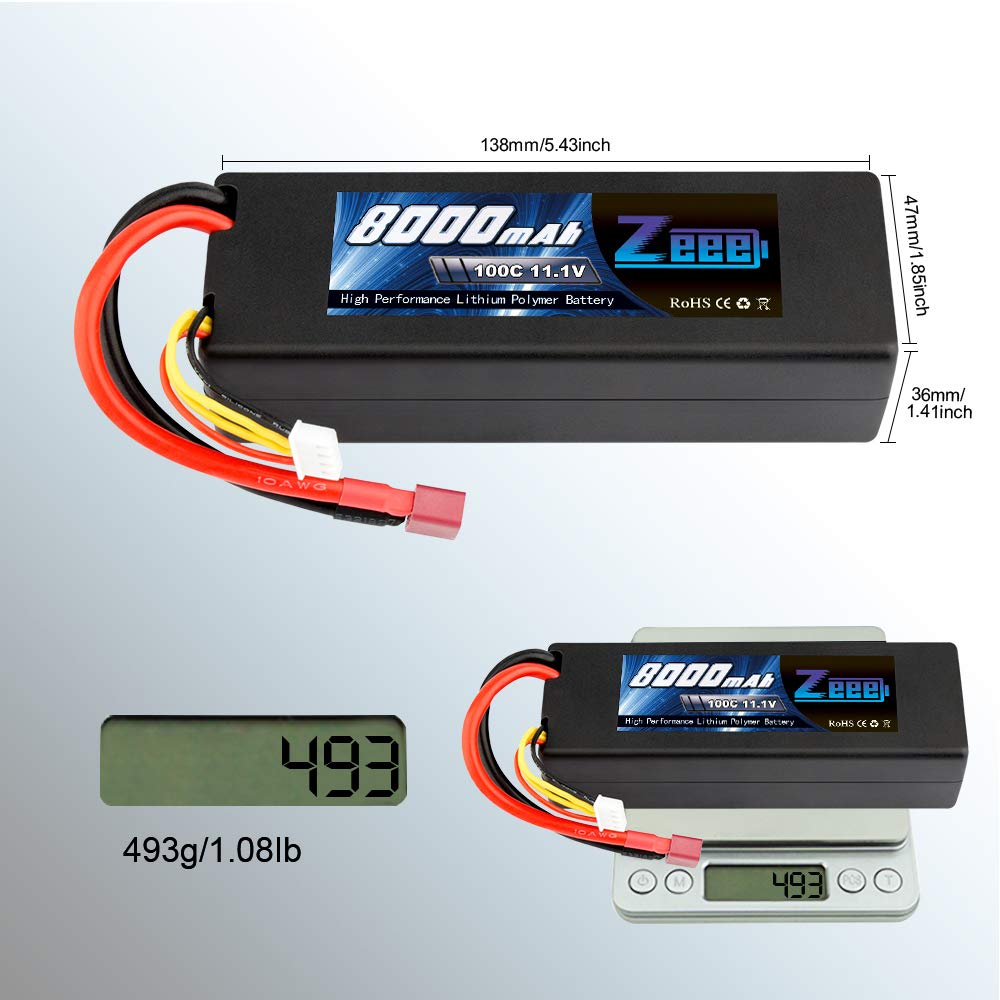 Zeee 8000mAh 11.1V 100C 3S RC Lipo Battery Pack with Deans T Plug for 1/8 1/10 RC Car Model Traxxas Slash Buggy Team Associated by Zeee (Image #5)