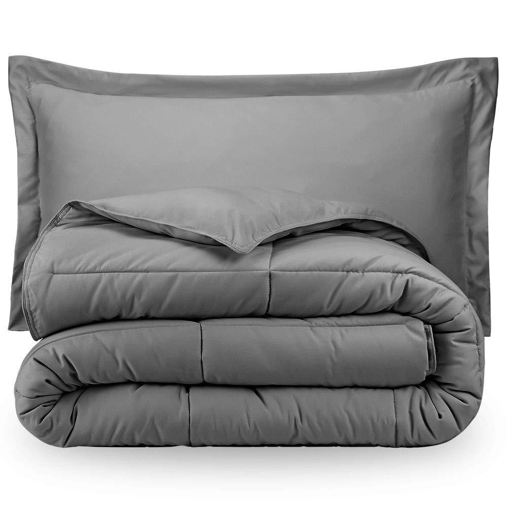 Premium 1800 Series Goose Down Alternative Hypoallergenic Comforter Set Twin/Twin XL/Light Grey
