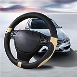 ハンドルカバー 軽自動車&普通車兼用ハンドルカバ- 触感よく、汚れ防止、滑り防止ハンドルカバー   直径38cm 適応サイズ:37-38㎝ らくだ色+黒 …