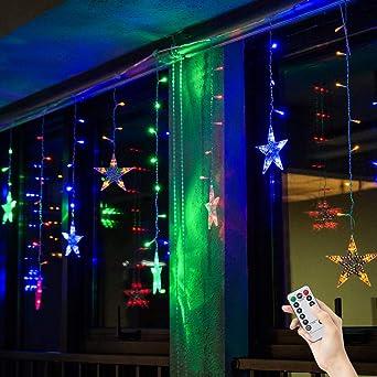 Stern Weihnachtsbeleuchtung.Bloomwin Lichtervorhang Stern 3 0 65m Bunt 120led 220v 8modi Girland Star Curtain Fairy Light Weihnachtsbeleuchtung Fensterdeko Für Innen Wand