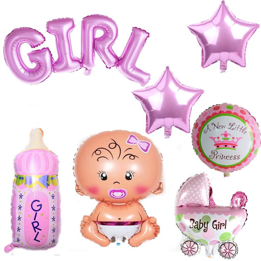 Babyshower Es una ni/ña Beb/é Ducha Fiesta y decoraci/ón Crazy-M 7 Piezas Helio Globo Beb/é Hoja Globo Beb/é Ducha Decoraci/ón Rosa ni/ña