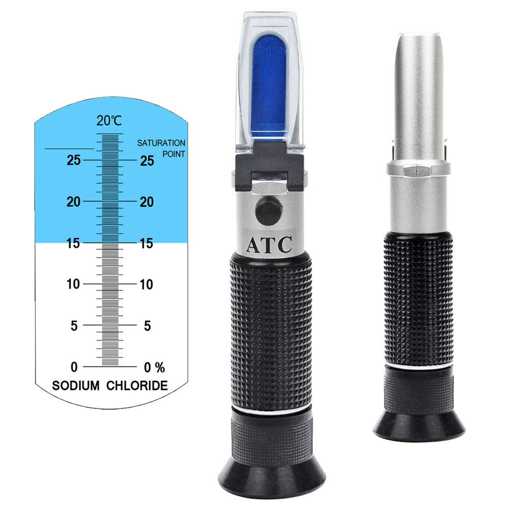 Salinity Refractometer 0~28% Scale Range, Measuring Sodium Chloride Content in Brine, Seawater and Industry. Salinometer for Food with Automatic Temperature Compensation (ATC) by aichose
