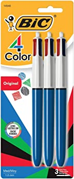 3-Count BIC 4-Color Medium Point (1.0mm) Ball Pen (Assorted Ink)