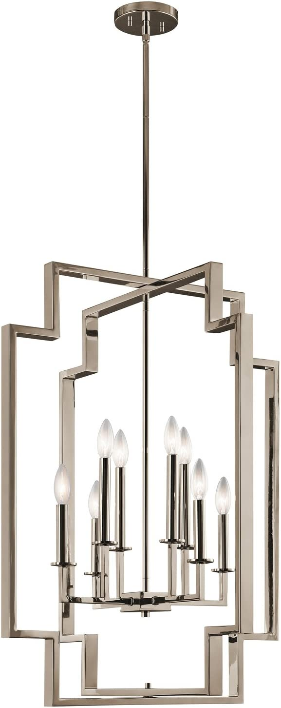 Kichler 43966PN Downtown Deco Chandelier, 8 Light Incandescent 480 Total Watts, Polished Nickel