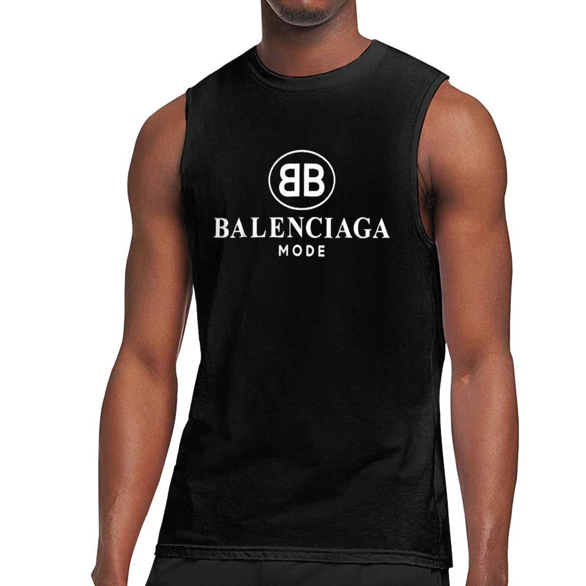 7316d16b Amazon.com: Balenciaga Vest Men's Crew Neck Sleeveless T-Shirt Sports top  Black Gym Wear Solid T Shirt for Unisex: Clothing