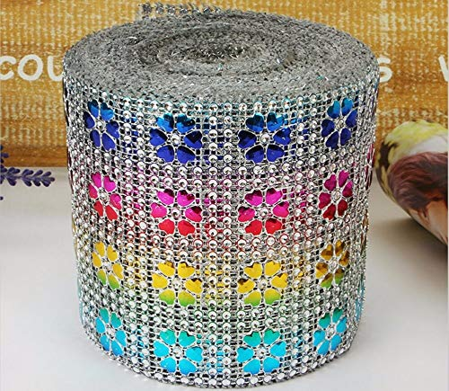 10Yard Multicolor Heart Flower Bendable Mesh Wrap Roll Sparkle Rhinestone Trim Ribbon for Wedding Gift Party Craft Decoration]()