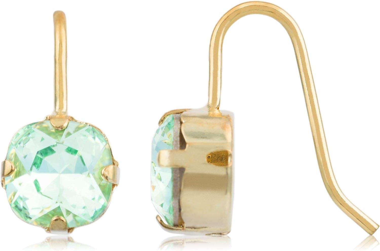 Córdoba Jewels | Pendientes en plata de ley 925 bañada en oro con cristales by Swarovski con diseño Circle Jade Swarovski Gold
