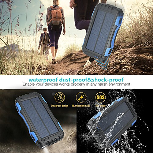 Solar Charger Kiizon 25000mAh Outdoor Portable Chargers Solar Power Bank Waterproof/Shockproof Dual USB Port External Backup Battery Powered Pack with Flashlight For iPhone,ipad,Smart Cell Phone,More by kiizon (Image #5)