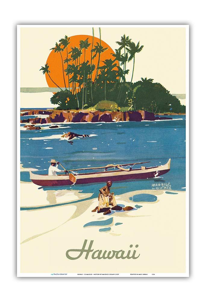 Matson Navigation Company - Vintage Ocean Liner Travel Poster by Maurice Logan c.1929 Matson Line 12 x 18in SS Malolo Pacifica Island Art Master Art Print Hawaii