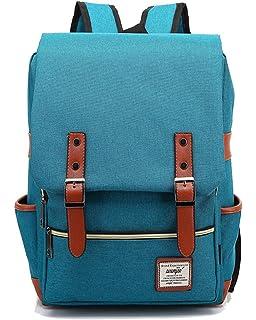 459204a19785 FreeMaster Vintage Unisex Casual School Bag Travel Laptop Backpack Rucksack  Daypack Tablet Bags (Green Blue