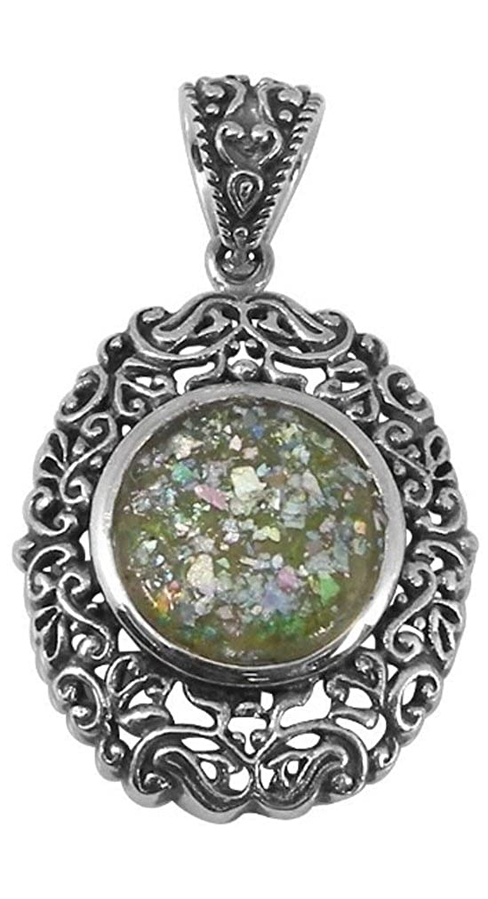 BTS-NP7955//RG Sterling Silver Pendant with 2,000 Year Old Antique Roman Glass
