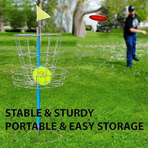 HighHoop Heavy Duty & Portable Disc Golf Basket - Lightweight Double Chains Portable Practice Target Steel Frisbee Hole Disc Golf Goals Catcher - 25.7 x 25.7 x 52 (LxWxH) (Jade Golf Putter)