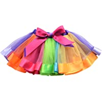 OULII Girls Rainbow Tutu Skirt Layered Ruffle Tiered Dance Performance Dress for Girls 1-3 Years Old