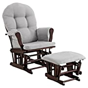 Angel Line Windsor Glider and Ottoman, Espresso with Cushion, Gray