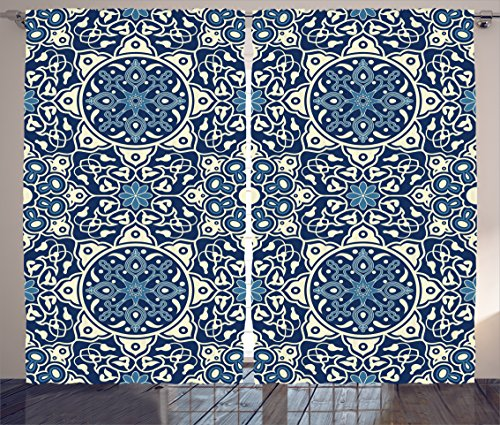 Delicate Window Decorative (Ambesonne Arabian Decor Collection, Floral Antique Tile Pattern Decorative Delicate Ornamental Design Art Print, Living Room Bedroom Curtain 2 Panels Set, 108 X 90 inches, Indigo Blue White)