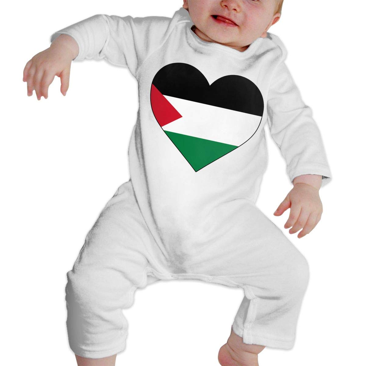 Infant Baby Boys Girls Cotton Long Sleeve Palestinian Territories Heart Love Jumpsuit Romper One-Piece Romper Clothes