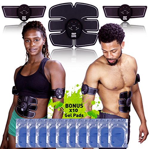Goat Gang ABS STIMULATOR WITH 10 EXTRA GEL PADS & EBOOK BUNDLE – Portable Muscle Toner & Abdominal Toning Belt – Abdomen/Arm/Leg Exercise Workout Equipment – Ultimate Ab Training Fitness Machine Review