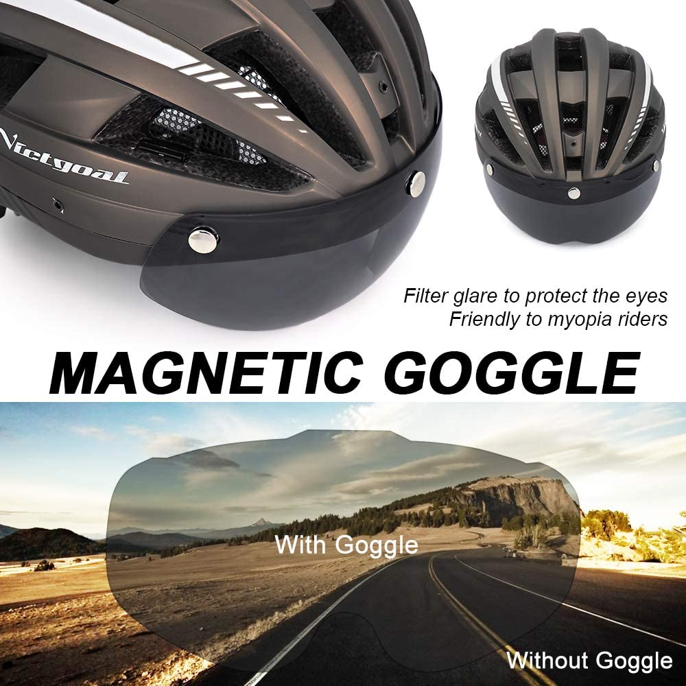 VICTGOAL Bike Helmet with USB Rechargeable Rear Light Detachable Magnetic Goggles Removable Sun Visor Mountain /& Road Bicycle Helmets for Men Women Adult Cycling Helmets