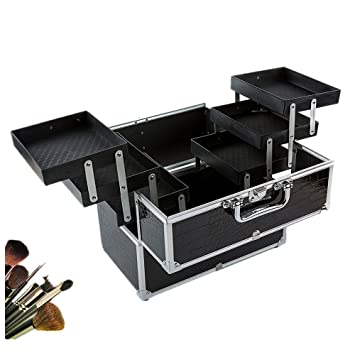 Amazon Com Anself Large Lockable Cosmetic Organizer Box Makeup Case