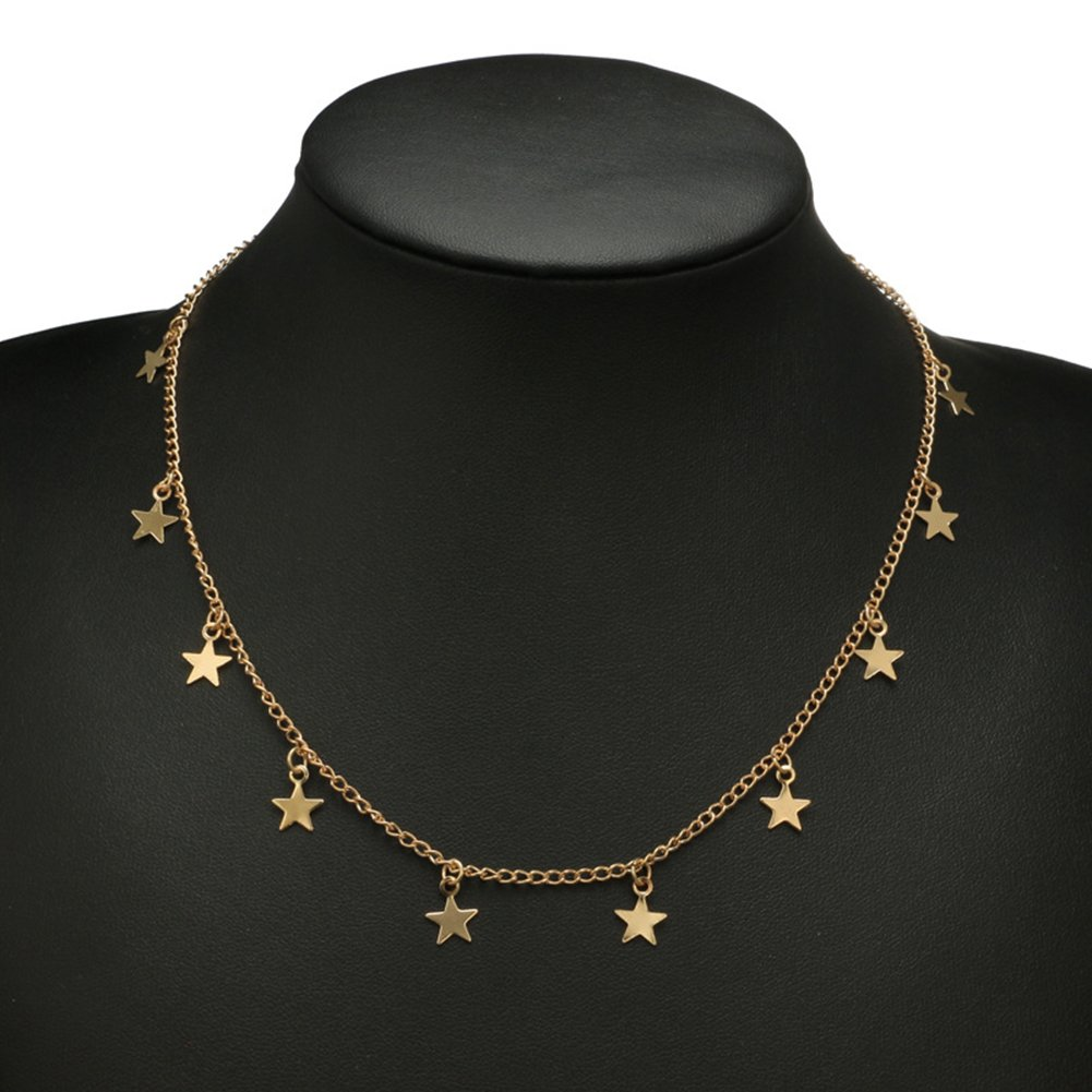 Necklace Opeof Fashion Women Little Star Chain Pendant Necklace Solid Color Party Jewelry Gift Silver