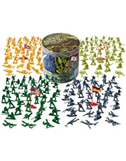Army Men Toy Action Figures - 202 Pieces with American, British, German & Japanese Soldiers in 26 Different Poses, Fun Gift for Kids Pretend Play or Dioramas