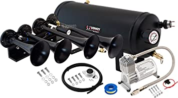 Vixen Horns Train Horn Kit for Trucks//Car//Semi 1.5 Gallon Tank 3 Trumpets Super Loud dB Complete Onboard System- 150psi Air Compressor Fits Vehicles Like Pickup//Jeep//RV//SUV 12v VXO8815//3311C