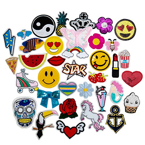 36 PCs Iron On Patches Set - Assorted Designs Embroidered Appliqué Sew On Patch Set Great for Repairing, Decorating, Reinforcing and Mending Jeans, Backpacks, Denim Clothes - Cool Party Favors (1) ()