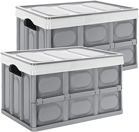 Yorbay 2er Set Profi Klappbox Transportbox Mit Deckel Faltbarer Aufbewahrungsbox Mit Handgriff Stapelbare Kisten Storage Box Faltboxen Stapelboxen Für Aufbewahrung Und Transport Pp Grau 55l Küche Haushalt
