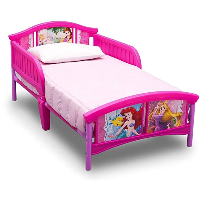 Tangled Little Mermaid Beauty and The Beast| Ariel Rapunzel Disney Princess Deluxe Toddler Bed with Attached Guardrails Belle Cinderella