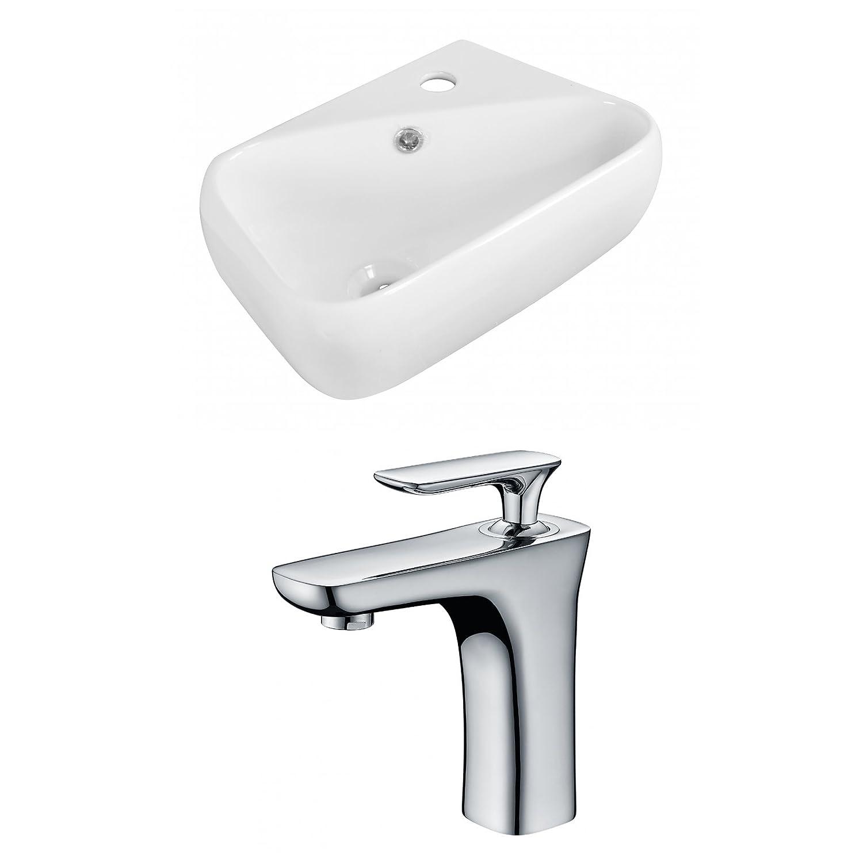 "durable modeling Jade Bath JB-15305 18"" W x 10.5"" D Rectangle Vessel Set with Single Hole CUPC Faucet, White"