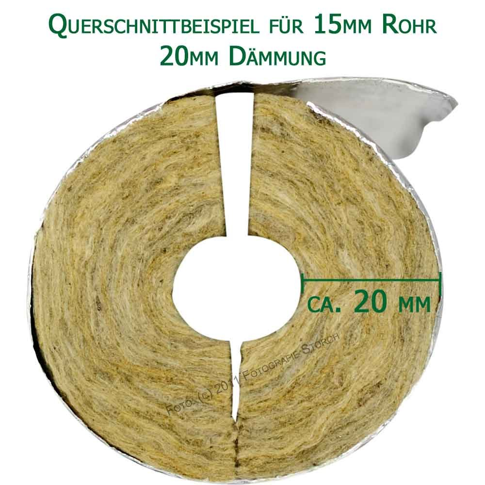 L/änge 1m 30mm D/ämmung VPE16m Rohrisolierung Rockwool 800 WLG035 f/ür 35mm Rohr