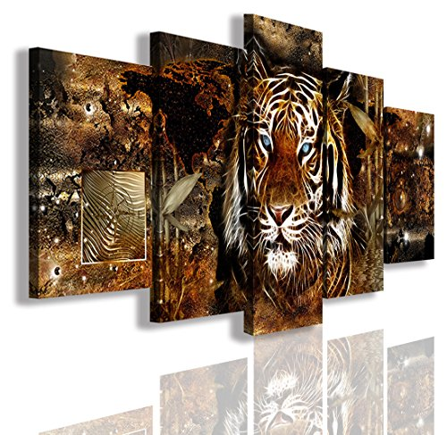 Tiger World Map Canvas Wall Art Décor Abstract Painting Modern Prints Framed Ready to Hang 60