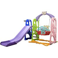 Bieay Climber and Swing Set for Kids, 4 in 1 Climber Slide Playset with Basketball Hoop, Swing, Ferrule and Plastic Play Slide Climbing Ride for Kids Ages 1 and up (Multicolour-1)