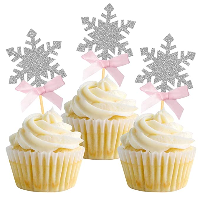 blue Winter onederland pink and silver snowflake cupcake toppers silver options; one dessert picks 12ct; first birthday party; pink