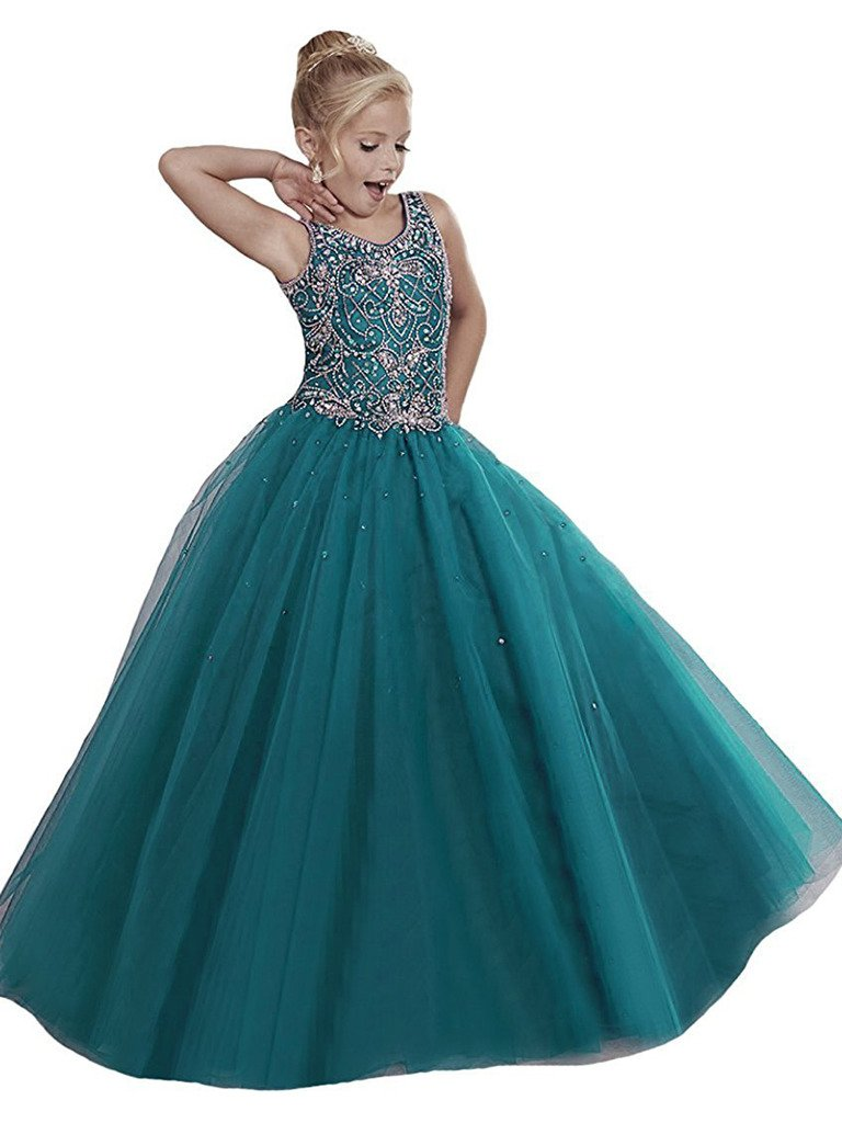 WZY Girls Pageant Dresses Handmade Beading Flower Girl Birthday Party Gowns US 10 Teal