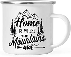 Andaz Press 11oz. Stainless Steel Camping Coffee Mug Gift, Home is Where The Mountains are, 1-Pack, Birthday Christmas Outdoors Metal Enamel Campfire Cup