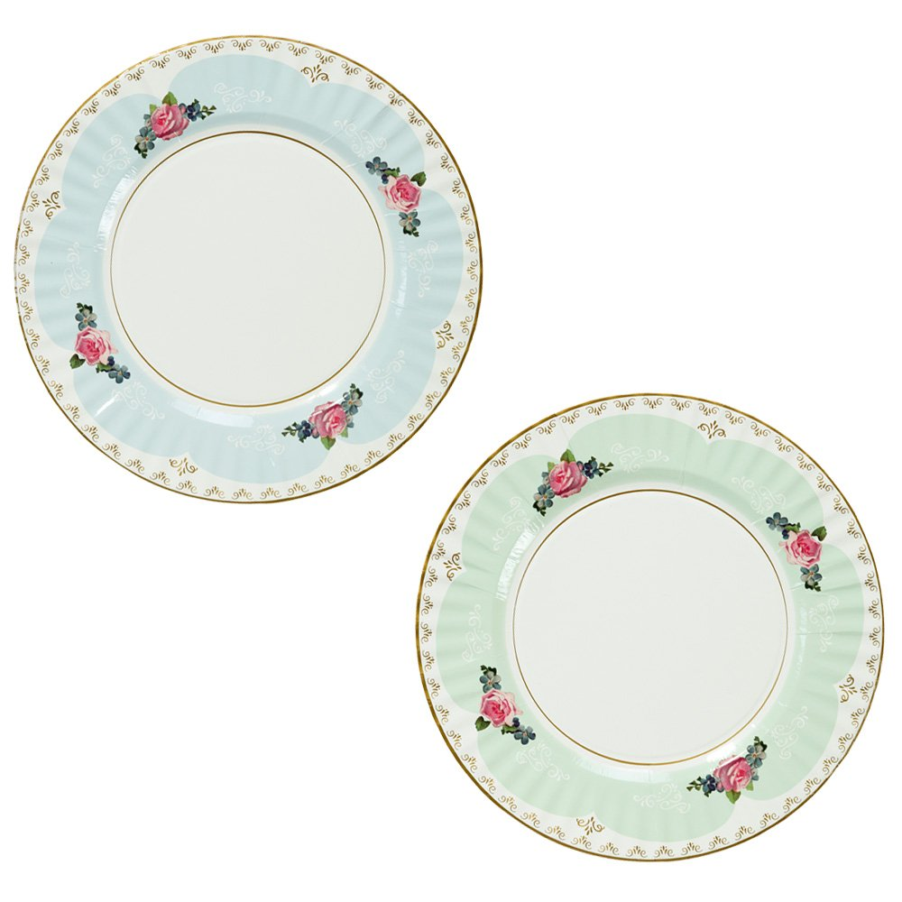Talking Tables Truly Scrumptious Large Pastel Dinner Paper Plates for a Tea Party, Wedding or Birthday, Blue/Green by Talking Tables