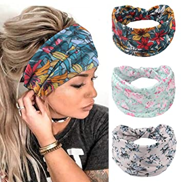 Women Elastic Stretch wide lace HairBands Headband Wrap Turban Floral Head Scarf