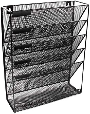 AGWa Metal Mesh Magazine Rack, Desk File Organizer, Wandmontage Magazine File Rack Office Desk 5-Schicht-Intervall Archiv File Notebook Storage Black