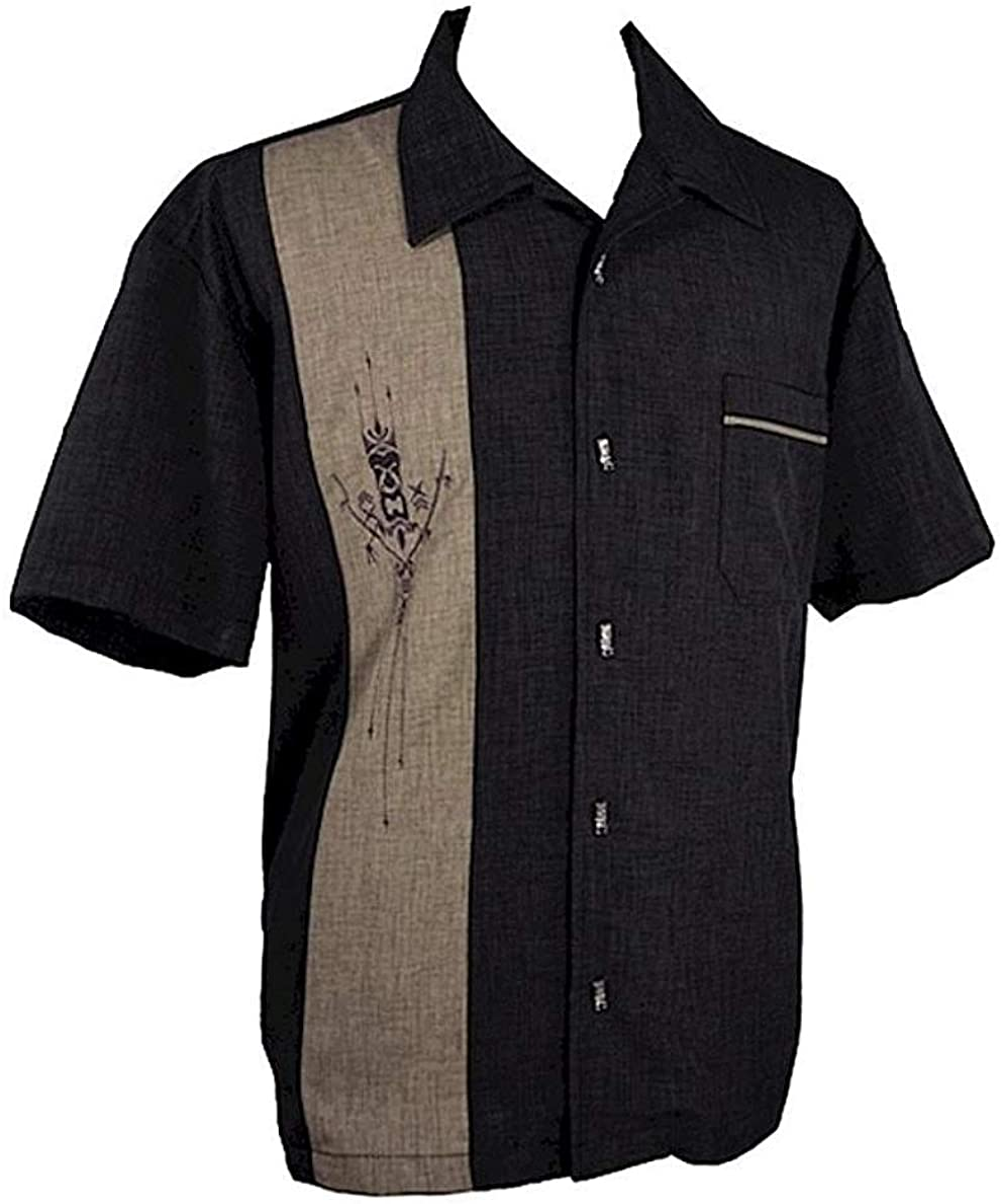 Tiki Shirt Men's Short-Sleeve Button Down Hawaiian Shirt ~Tiki 'n Bamboo