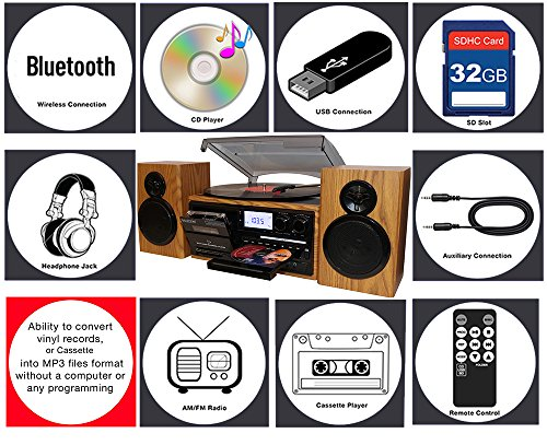 Boytone BT-28SPW, Style Record Player Turntable with CD / Cassette Separate Stereo from Cassette MP3, SD Slot, AUX.
