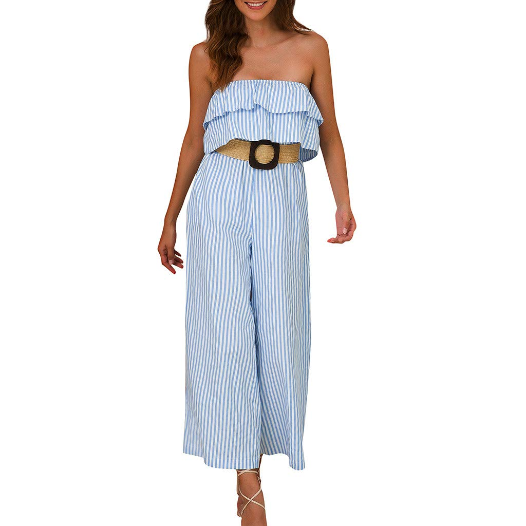 Benficial Women Ruffled Holiday Trousers Striped Print Jumpsuit Playsuit Beach Romper 2019 Summer Light Blue by Benficial