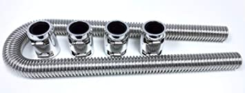 """48/"""" Stainless Radiator Hose with Chrome End Caps Universal Flexible Kit"""