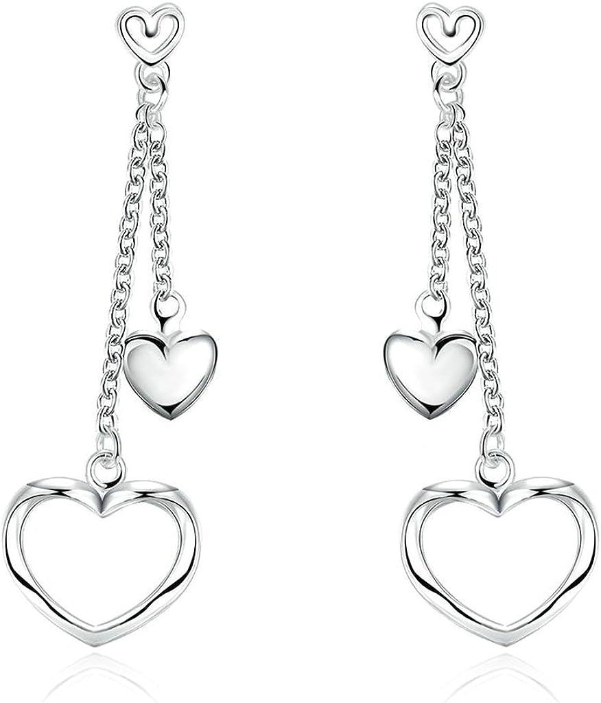 KNSAM - Pendientes Mujer Filigrana Link Corazón Blanco Cristal Bañado con Plata 925 Aretes para Novias