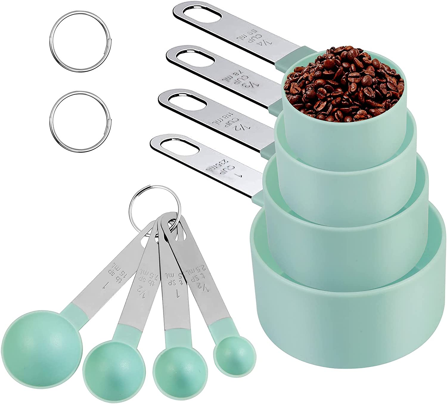 Holriaye Measuring Cups and Spoons 8-Piece Set, Plastic Measure Cups Accurate Measuring Spoons with Stainless Steel Handle BPA free and Dishwasher Safe for Dry and Liquid Ingredient